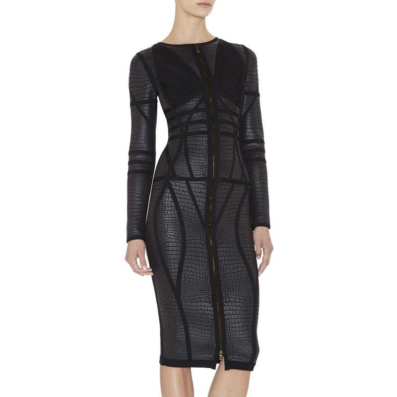 New arrival women HL bandage dress Knee-Length Long Sleeve dress black damen kleider vestidos casuales de mujer
