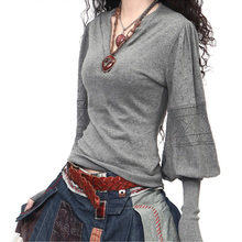 The new 100% pure cashmere sweater v-neck lantern sleeve sweater Women's hollow out cultivate one's morality sweater black