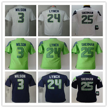 2016 Youth Seattle Seahawks #3 Russell Wilsons #12 Fan #24 Marshawn Lynch Kids navy grey white green, 100% stitched logo(China (Mainland))