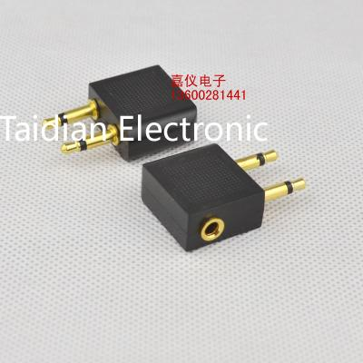 Gold 3.5mm to 2 x 3.5mm plug connector Airplane Airline Headphone Earphone Jack Audio Adapter 500pcs/lot Free shipping(China (Mainland))