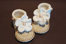 Baby Girl Shoes,Crochet Baby Sandals, Crochet Baby Flip Flops,Off White Baby Shoes(China (Mainland))