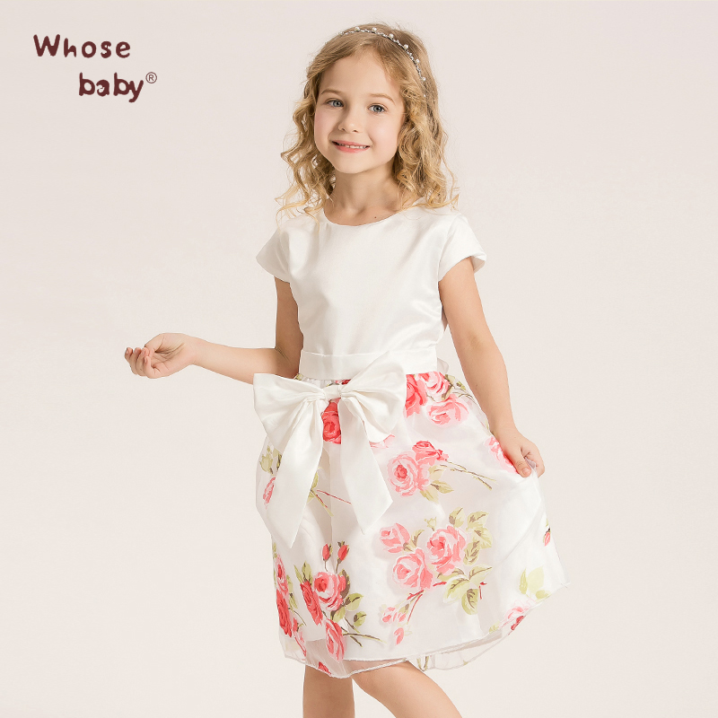 Girls Dress Infant Kids Chiffon Flower With Rose Bow Dress Sweet Princess Party Costume Toddler Child Elegant DressWHOSEBABY(China (Mainland))