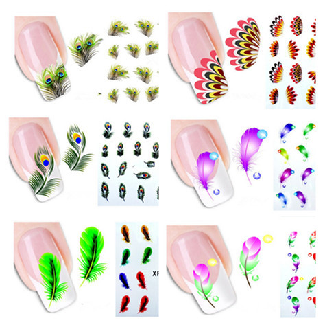 10sheets Nail Art Water Transfer Stickers Decals Colorful Leopard Feather Water Transfer Stickers Tips Decorations Wraps(China (Mainland))