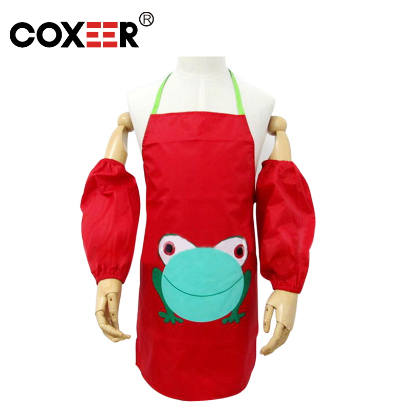 COXEER 1Pcs Kids Cute Frog Waterproof Cooking Painting Gardening Apron and Sleevelet Random color(China (Mainland))