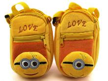 Cartoon Yellow Minions cute women messenger bags Mini Mobile phone shoulder bag Coin Purse minion plush toy bag for teenage girl(China (Mainland))