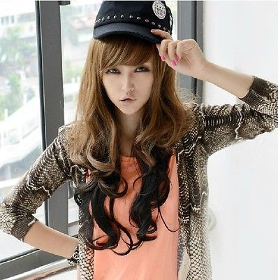 New Two Tone Synthetic Long Wavy Highlight Hair Wigs Brown To Black K077 <br><br>Aliexpress