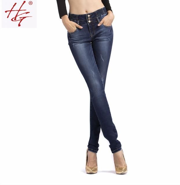HG # X06 2015 новый стиль узкие джинсы женщин высокой талии джинсы женские синий ...
