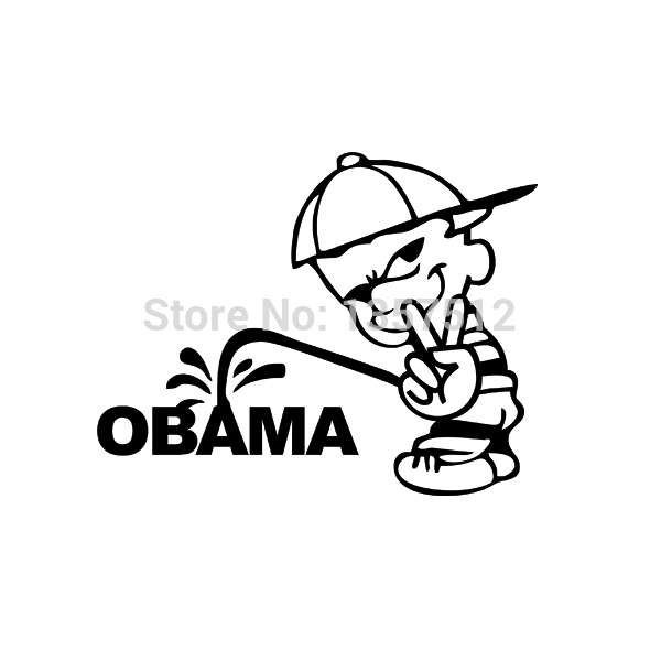 Wholesale 50 pcs/lot Stickers Funny USA Bad boy Sign Pee Piss ON OBAMA Vinyl Decal Car Sticker For Truck Window Bumper 8 Colors<br><br>Aliexpress