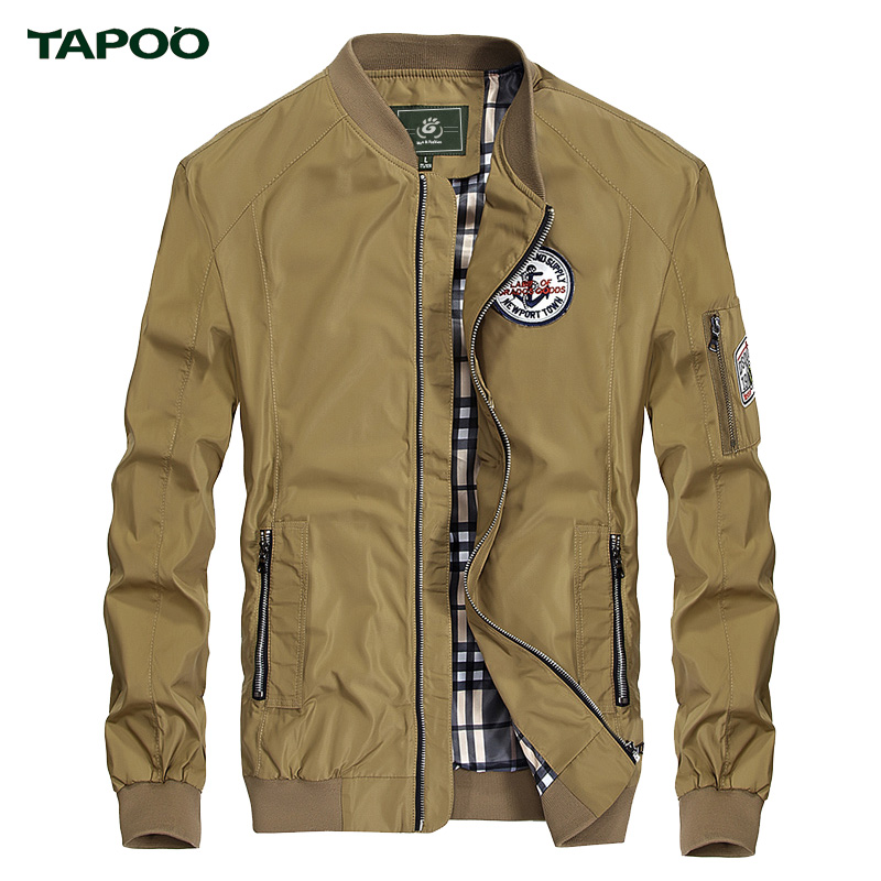 New Brand TAPOO Jacket Mens Solid Simple Fashion Casual Coat for Men Spring Hot Sales Wholesales Blue Khaki Jacket Size M-3XL(China (Mainland))