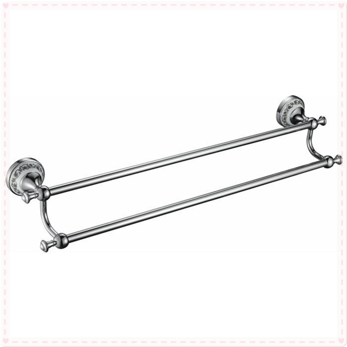 Free Shipping Wholesale And Retail 60cm brass Ceramics Bath Towel Bar Dual Tiers Antique Brass Wall Mounted DB008K-1 vasos for j(China (Mainland))
