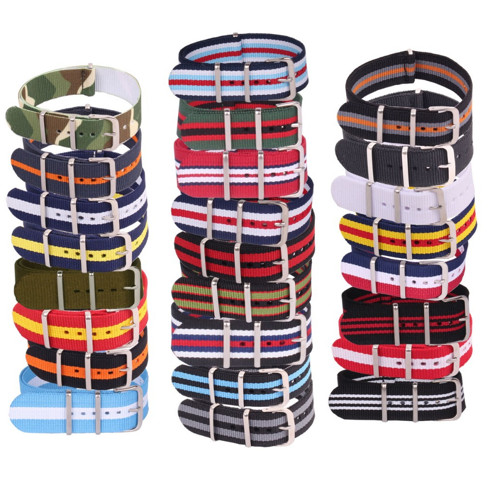 24mm Army Military Sports Large Bracelet for Nato watch strap belt Black Nylon Woven Fiber watchband 24 mm Buckle replacement(China (Mainland))
