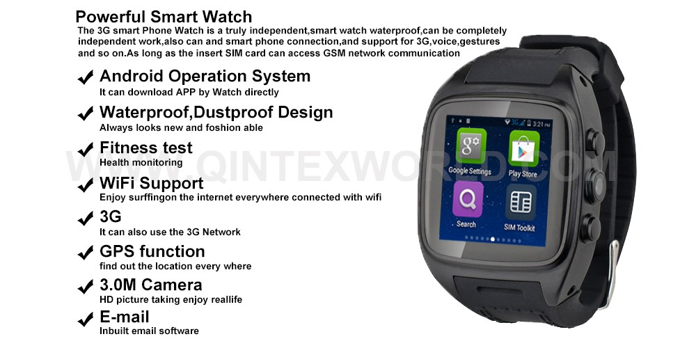 Android Smart Watch Phone Dual Core WiFi 4.0 Bluetooth 3G SIM Card IT65 android smart phone
