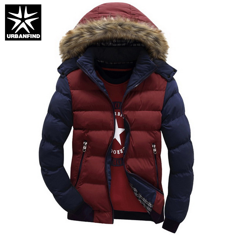 URBANFIND Contrast Color Hooded Design Men Parka Size M-4XL Casual & Fit Men's Winter Jacket Stand Collar Thick Man Down Jacket(China (Mainland))