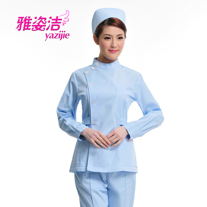 Pure nurse clothing small stand collar partial lapel white long-sleeve split service medical beauty services ball jf-05(China (Mainland))
