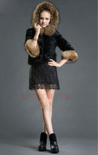 Factory New Arrival Women's Short Rabbit Fur Coat / Garment Out Wear With Racoon Fur Hooded As Christmas Day Gift