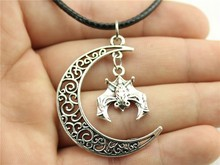 Buy WYSIWYG Crescent Moon Vampire bat Leather Chain Necklace, New Fashion Women Jewelry Necklace for $1.02 in AliExpress store