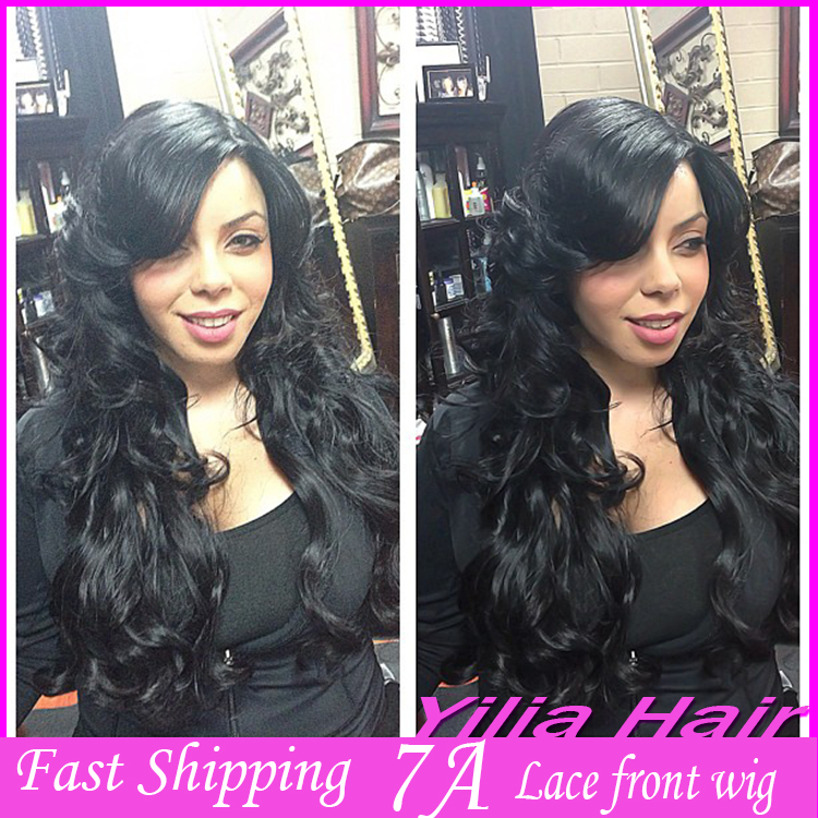 Peruvian glueless lace wig heat resistant synthetic Lace Front Wig Natural body wave hair black women stock - yilia store