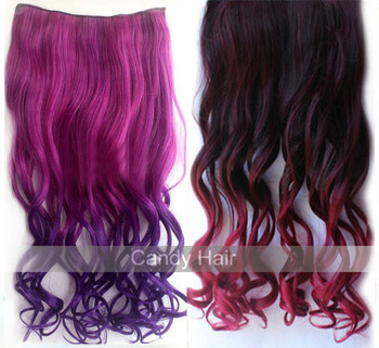 24inch(60cm) top quality long curl colorful hair piece ponytail synthetic braiding synthetic hair weave free shipping