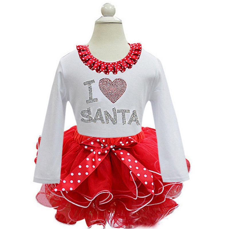 Christmas dress child kids girls long sleeve santa party dress baby
