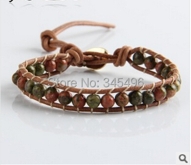 2015 fashion Europe style plant green agate 6mm beads bracelet handmade leather one wrap - Online Store 345496 store