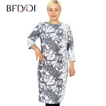 BFDADI 2016 весна Большой размер женская одежда свободного покроя прямой печать с о-образным вырезом простые цветы жаккардовые ткани платье жен...(China (Mainland))