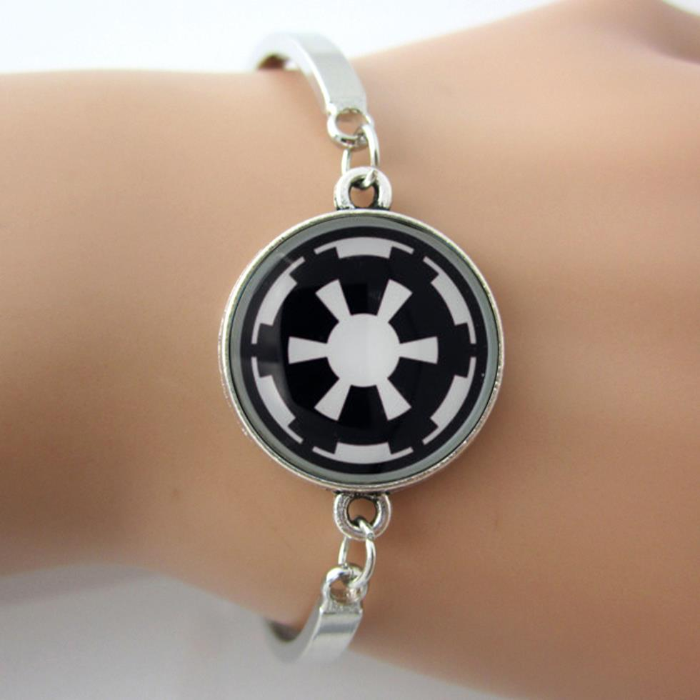 Star Wars Galactic Empire Bracelets Bangles,Glass Dome Bangle,Silver-Plated Wrist Bracelet,Art Picture Jewelry Gift(China (Mainland))
