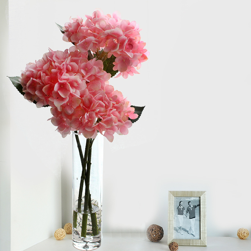 Artificial Flowers 2015 Real Touch Hydrangeas With Large Glass Vase Home Decor Dining Room Simulation Flower W31828SL1 / W31828(China (Mainland))