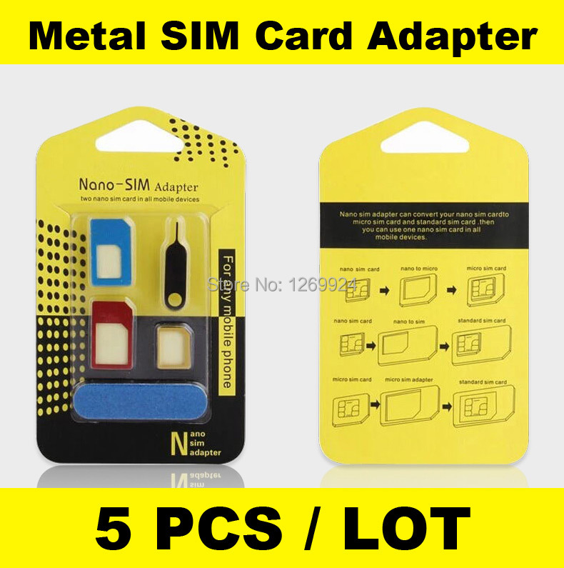 X 5 High Quality Metal 5 in 1 Nano Sim Card Adapters Micro Sim Stander Sim Card SIM Card Tools For All Phones With Retail Box(China (Mainland))