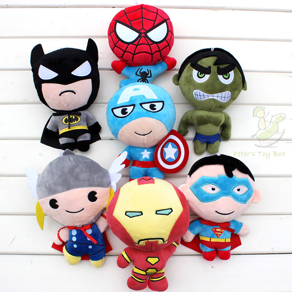 2016 New Avengers Figures Plush Doll Super Heroes Soft Toy Batman Plush Doll With Glass Sucker Captain American Civil War Dolls(China (Mainland))