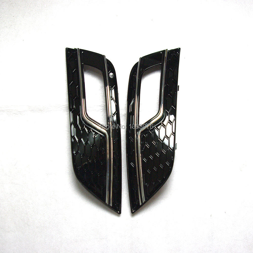 2 PCS RS4 STYLE CHROME FOG LIGHT GRILLE GRILL COVER CAD9A402 CAD 9A4 02 FOR A4 2013 UP(China (Mainland))