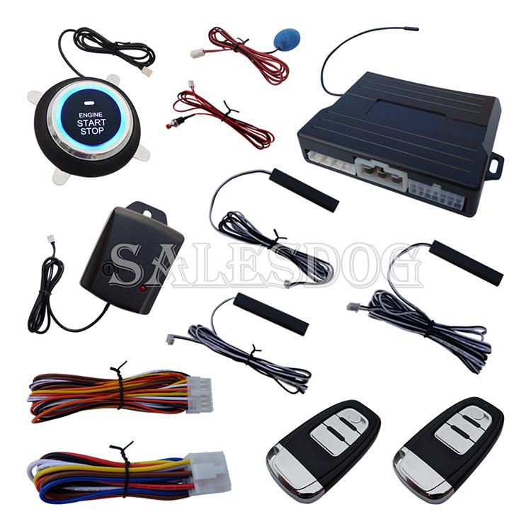Intelligent Smart PKE Car Alarm System Remote Engine Start Push Start Automatic Owner Identify With Shock Sensor & 3pcs Antennas(China (Mainland))