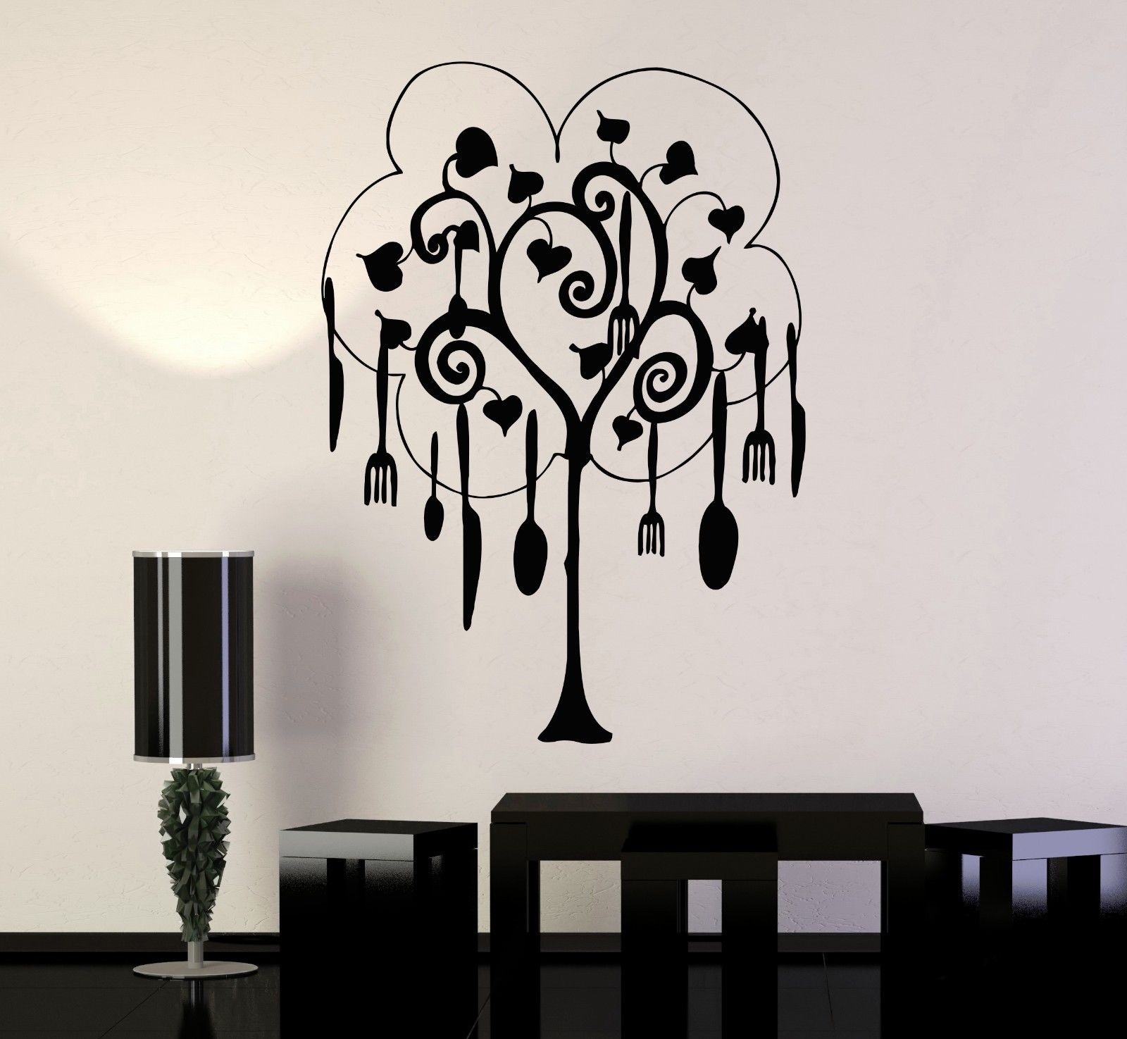new house Vinyl Wall Decal Tree Cutlery Kitchen Restaurant Housewife Art Stickers free shipping(China (Mainland))