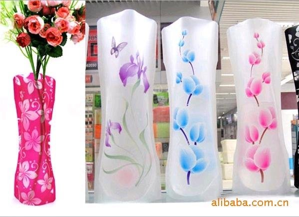 1 PCS Eco-friendly Foldable Folding Flower PVC Durable Vase Home Wedding Party Easy to Store 27.4 x 11.7cm(China (Mainland))
