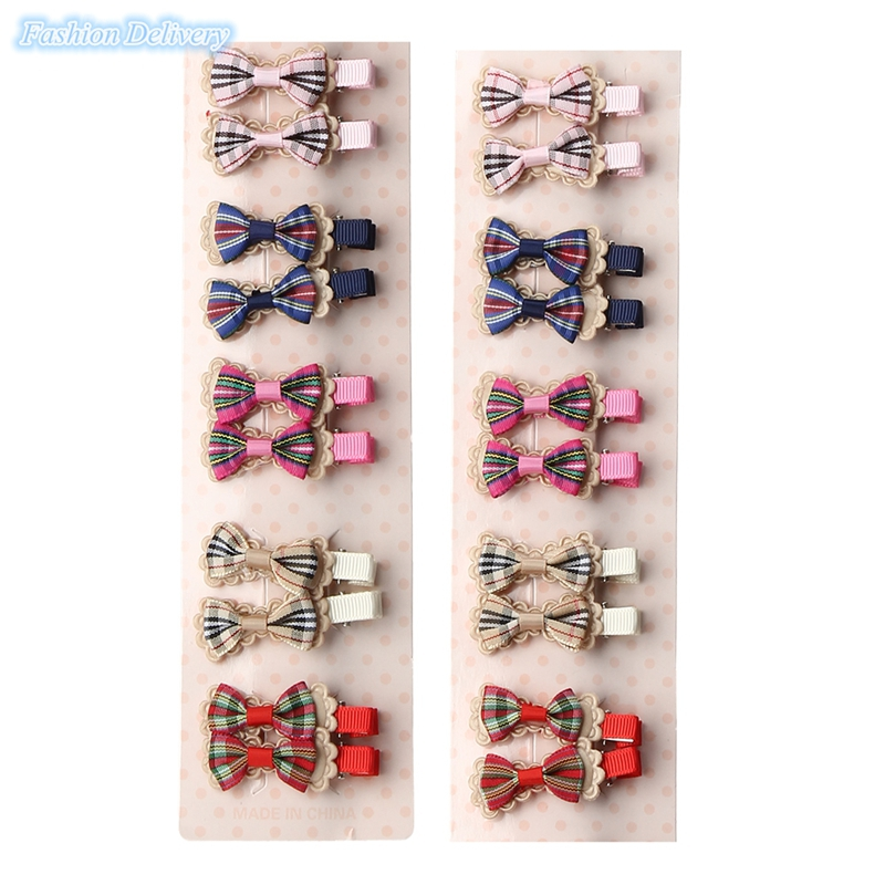 20pcs/lot Cute Kids Little Hair Clip Lace Bow Tie Hairpins Plaid Barrettes Girls Hair Styling Tools Decortions(China (Mainland))