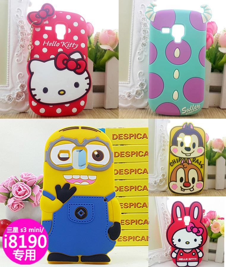 Aomail New i8190 3D Cute Cartoon Silicone Back Case Cover case for Samsung Galaxy S3 mini i8190(China (Mainland))