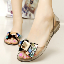 New Summer beach women shoes fashion melissa jelly shoes women flat sandals Transparent peep toe crystal women casual shoe