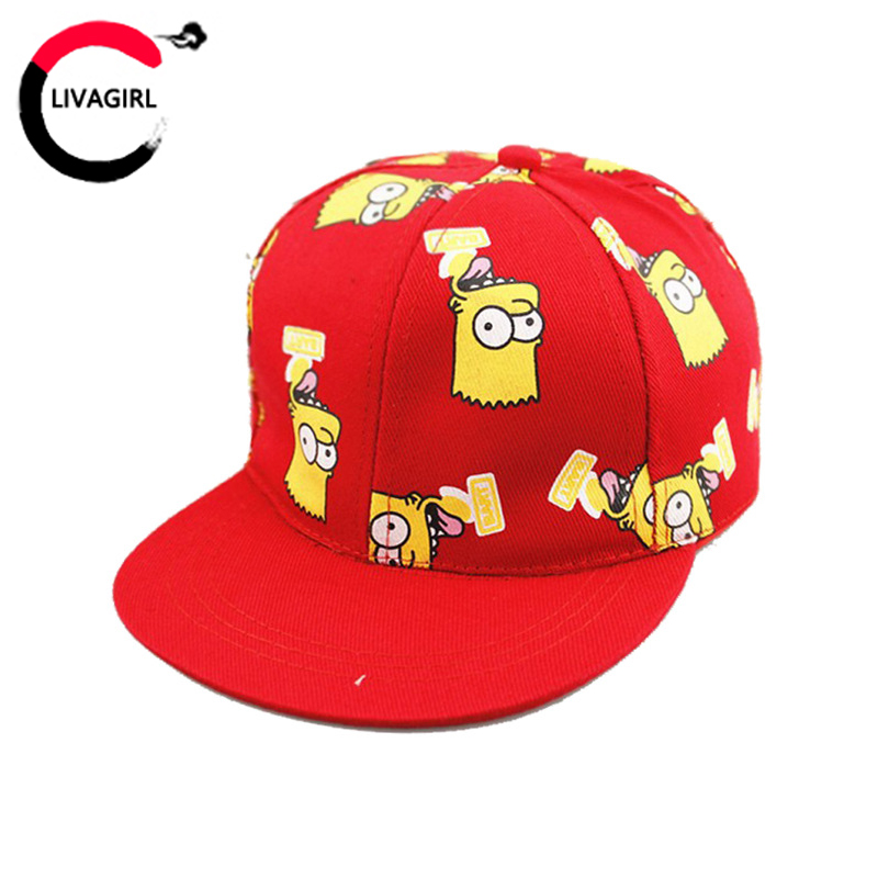 Fashion Children's Caps New Baseball Cap Cute Cartoon Simpson With Casual Flat Along Kid Hip-hop Hats For Boys Girls Unisex(China (Mainland))