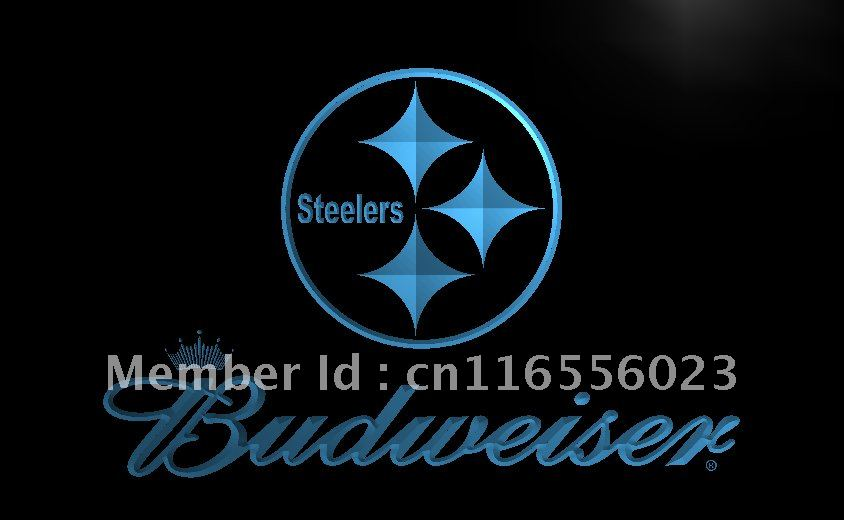 LD285- Pittsburgh Steelers Budweiser NR LED Neon Light Sign home decor shop crafts(China (Mainland))