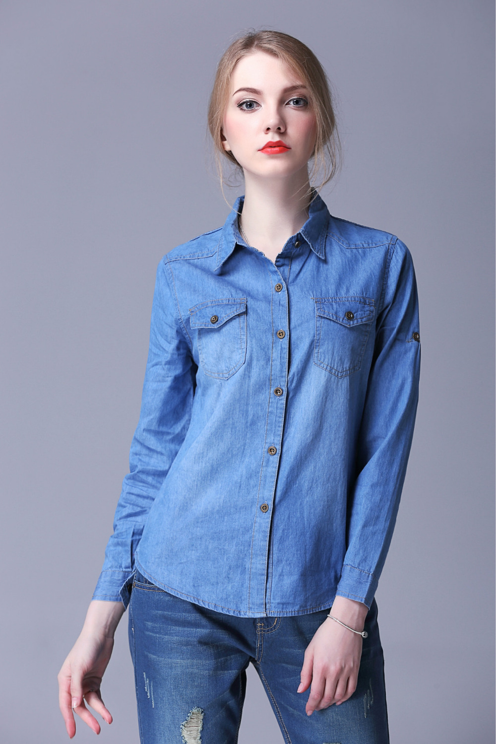 Women denim shirts 2015 summer thin stone wash denim for Womens button down shirts fitted