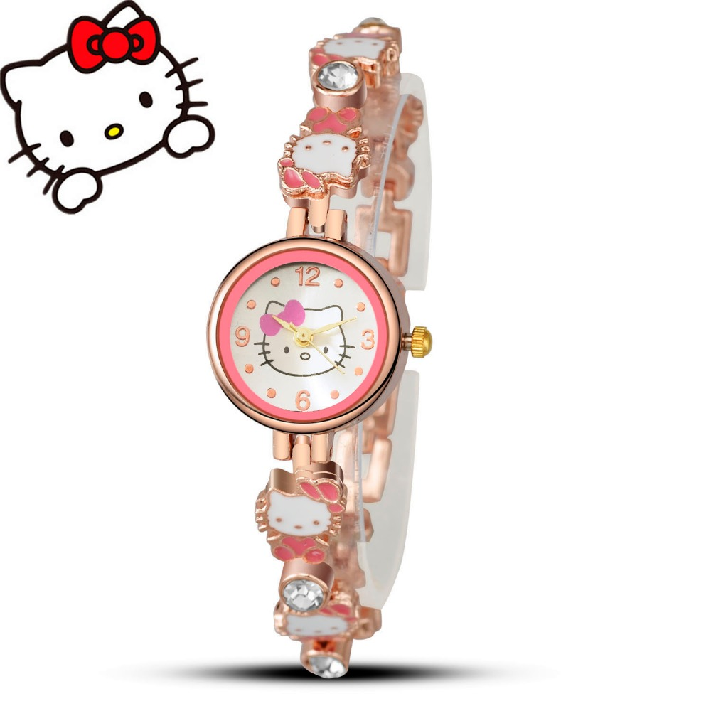 2016 Newest Brand Hello Kitty Cartoon watches Women children Quartz Watch kids hellokitty watches girls designer montre enfant(China (Mainland))