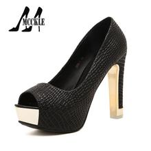 Sexy Peep-Toe Women's Pumps High Heels Neutral Thick Heel Platform Sweing Slip-On 2016 Fashion Party Casual Shoes Woman W0249