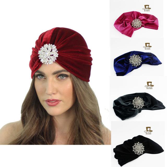 2016 Women Lady Ear Warmer Velvet Flapper Headband With Crown Turban Knitted Head Wrap Hairband Headwear Hair Band Accessories(China (Mainland))
