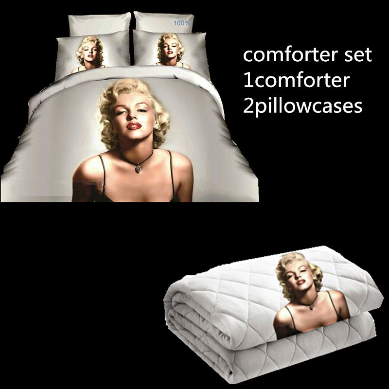High Quality 3D Sexy Marilyn Monroe Printed Comforter Set Black White US Queen Size 3pcs Comforter Bedding Set(China (Mainland))