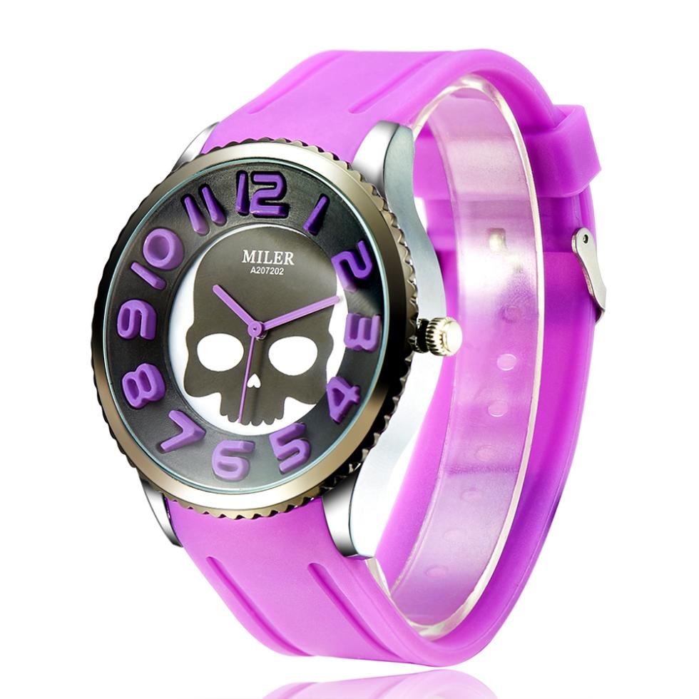 2014 New Design Women Dress Watches Candy Color Round Dial Fashion Skull Pattern Quartz Silicone Watch(China (Mainland))