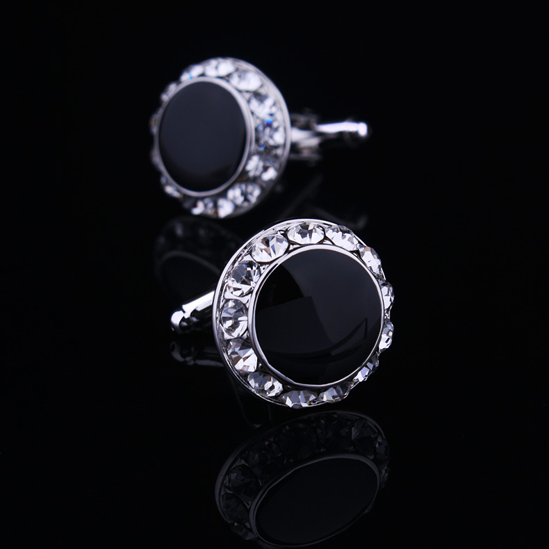 Black circle - - french shirt sleeve button black crystal nail sleeve cuff button new arrival<br><br>Aliexpress