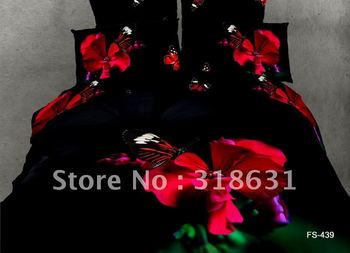 New Listing top grade bedding set fabric oil painting style full/queen black duvet cover set red floral butterfly design 4pc