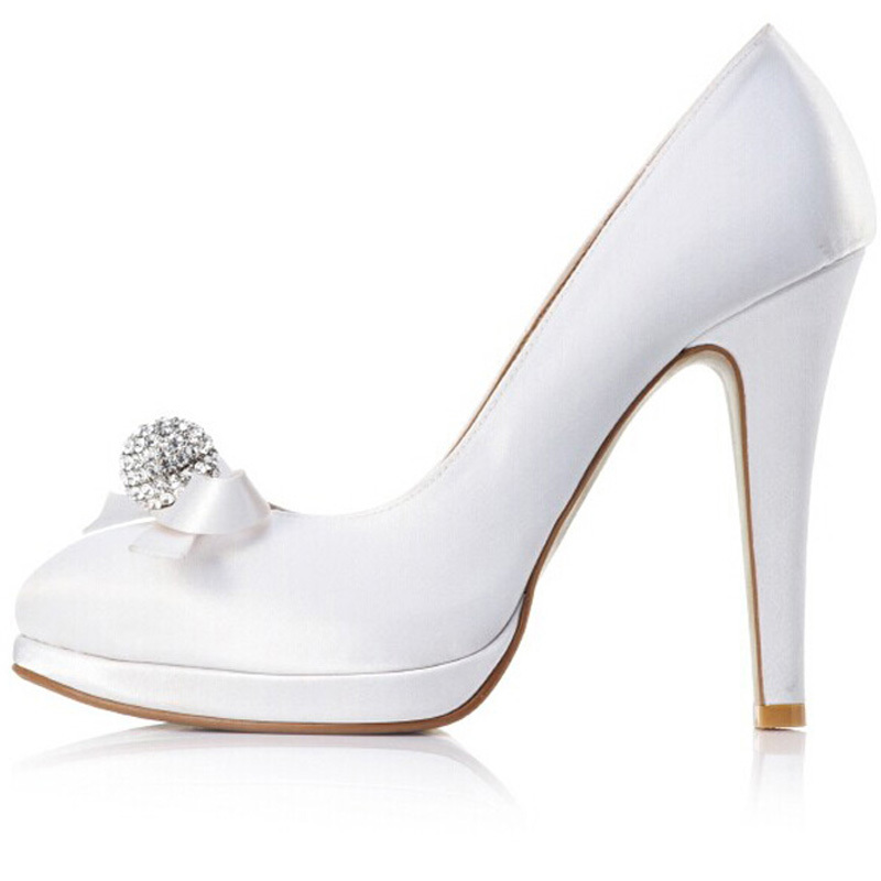 2015 fashion white satin stiletto hees closed toes prom