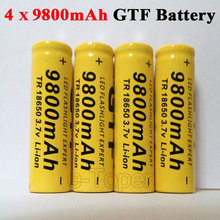 Retail High capacitance 4 pcs/set 18650 battery 3.7V 9800mAh rechargeable liion battery for Led flashlight batery litio battery(China (Mainland))