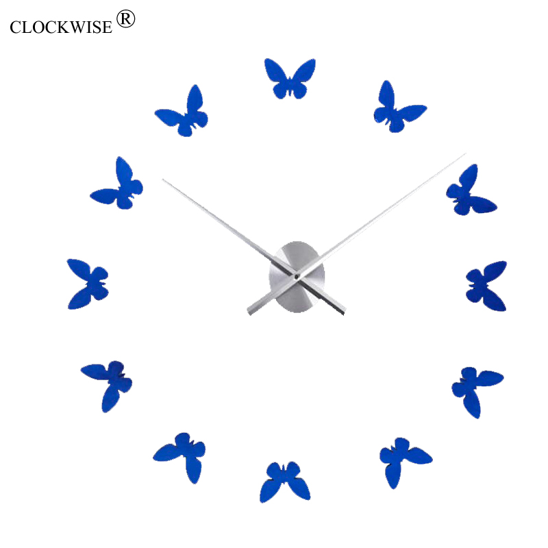 brand high quality clock watch DIY wall clocks acrylic mirror wall sticker Home Decoration 3D butterfly Living room decor(China (Mainland))