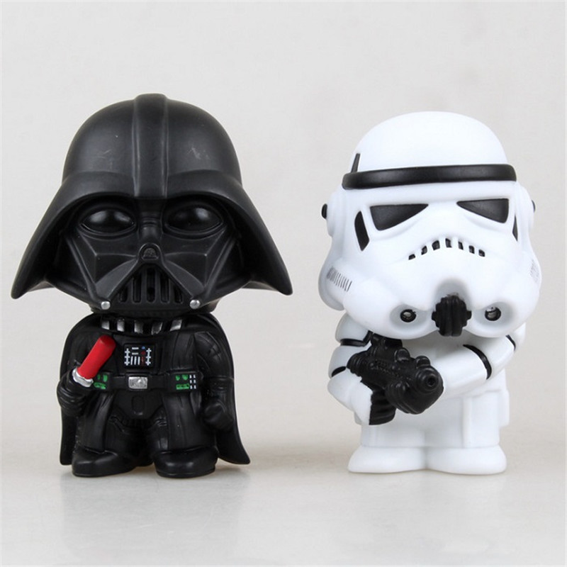 2pcs Star Wars Darth Vader Stormtrooper PVC Model Action Figure Black Warrior Clone Trooper Toy(China (Mainland))